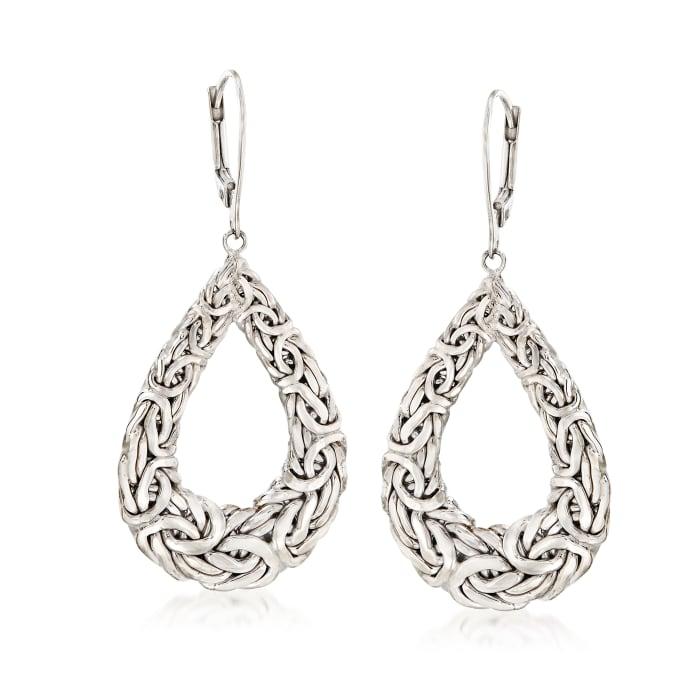 Sterling Silver Byzantine Open Teardrop Earrings