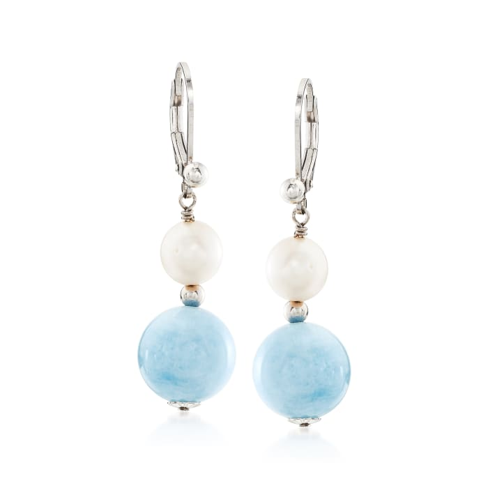 8-8.5mm Cultured Pearl and 24.10 ct. t.w. Aquamarine Bead Drop Earrings in Sterling Silver