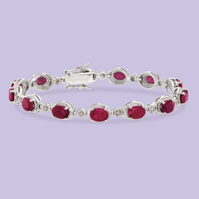 9.10 ct. t.w. Ruby Bracelet with Diamond Accents in Sterling Silver
