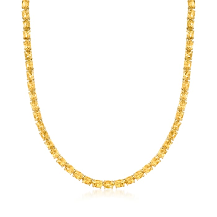 35.00 ct. t.w. Citrine Tennis Necklace in 18kt Gold Over Sterling Silver