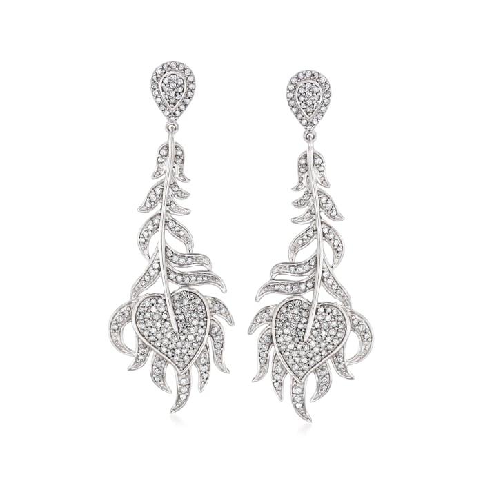 1.00 ct. t.w. Diamond Feather Drop Earrings in Sterling Silver