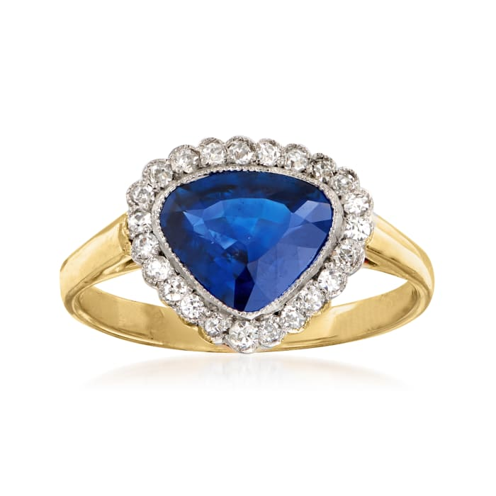 C. 1980 Vintage 1.45 Carat Sapphire and .20 ct. t.w. Diamond Ring in 14kt Yellow Gold