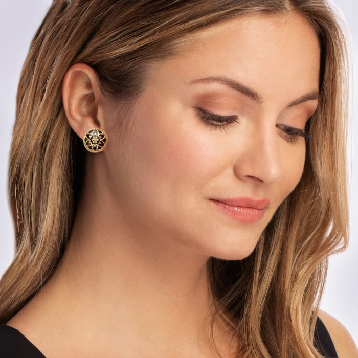 18kt Gold Over Sterling and Black Enamel Floral Button Earrings
