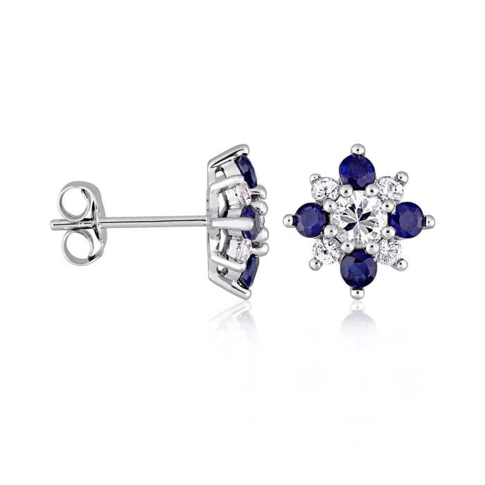 1.50 ct. t.w. White and Blue Sapphire Flower Earrings in 14kt White Gold