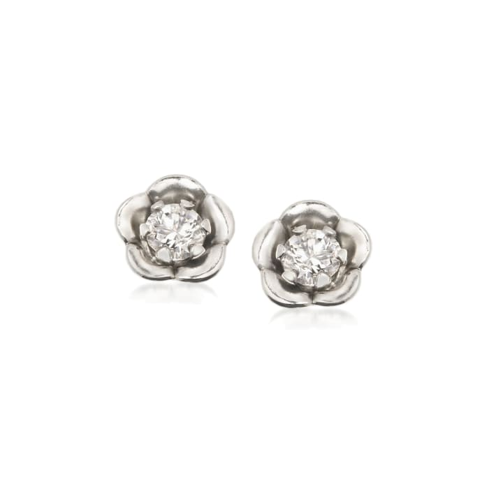 Child's .10 ct. t.w. CZ Post Earrings in 14kt White Gold