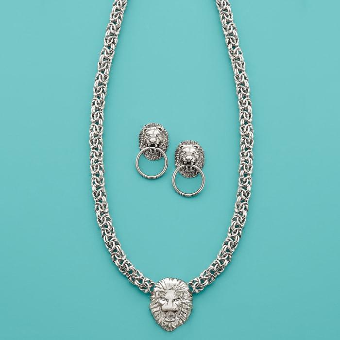 Italian Sterling Silver Lion Head Doorknocker Earrings