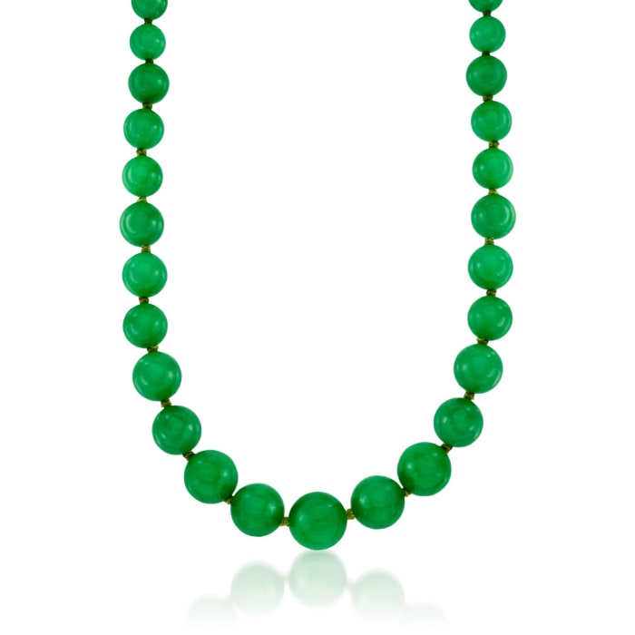 7-14mm Jade Bead Necklace with 14kt Yellow Gold