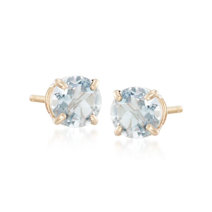 .50 ct. t.w. Round Aquamarine Stud Earrings in 14kt Yellow Gold
