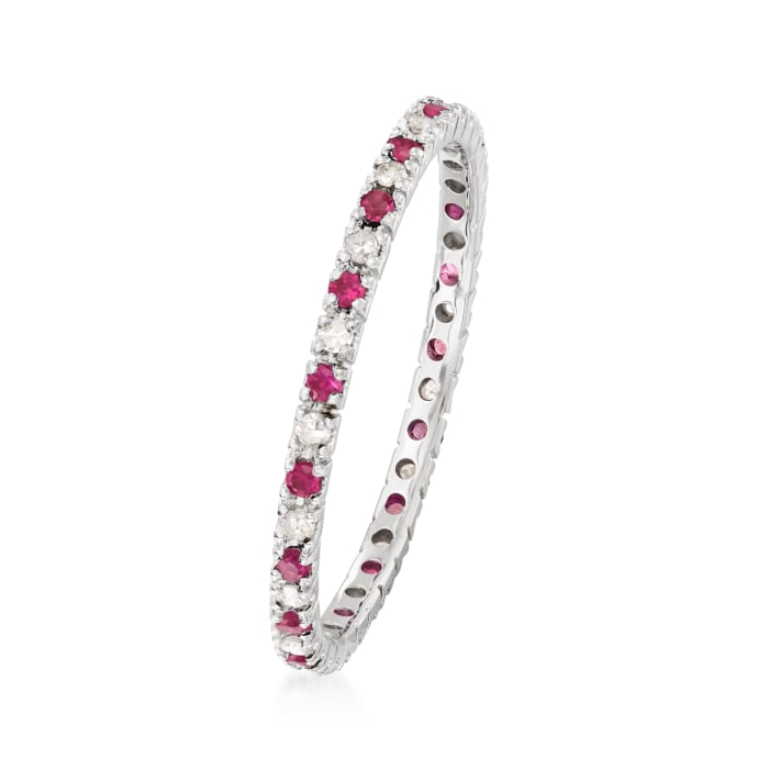 .18 ct. t.w. Ruby and .13 ct. t.w. Diamond Eternity Band in 14kt White Gold