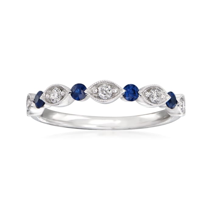 Henri Daussi .20 ct. t.w. Sapphire and .15 ct. t.w. Wedding Ring in 14kt White Gold