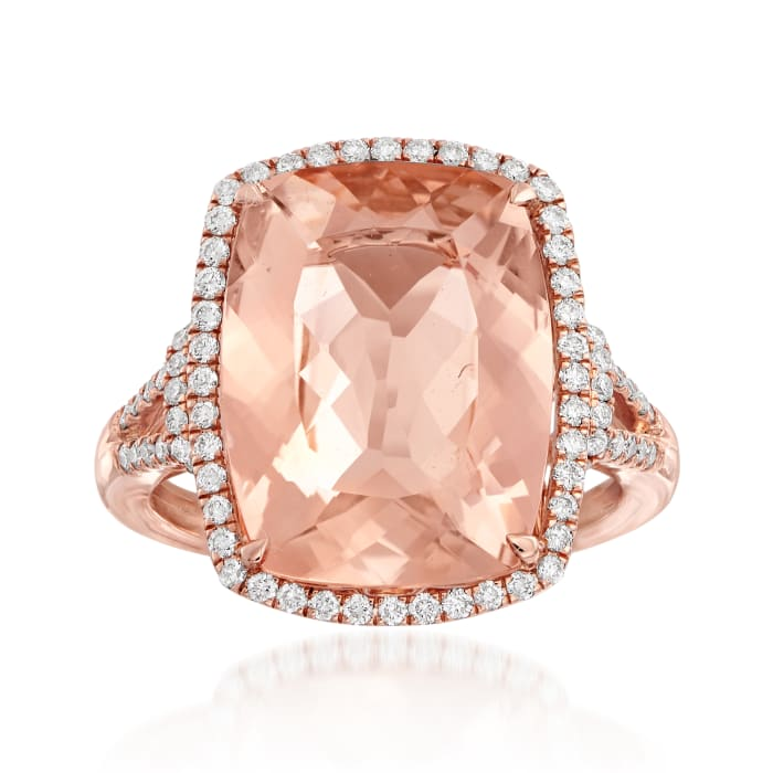 10.00 Carat Morganite and .41 ct. t.w. Diamond Ring in 14kt Rose Gold