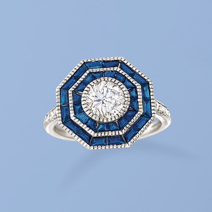 1.60 ct. t.w. Simulated Sapphire and 1.05 ct. t.w. CZ Ring in Sterling Silver