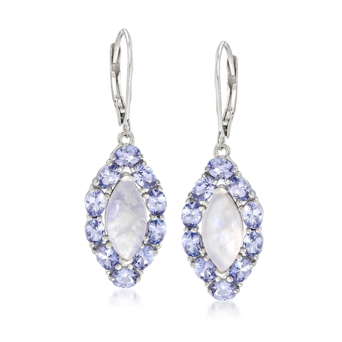 Moonstone and 3.20 ct. t.w. Tanzanite Drop Earrings in Sterling Silver