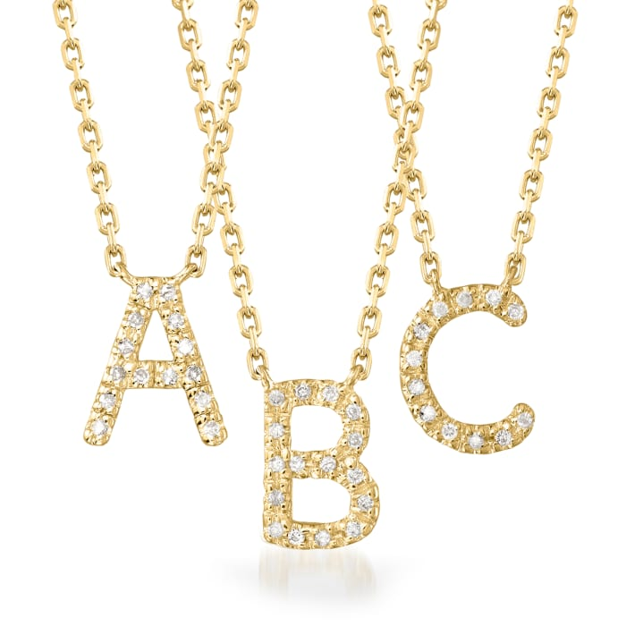 Diamond-Accented Initial Necklace in 18kt Gold Over Sterling
