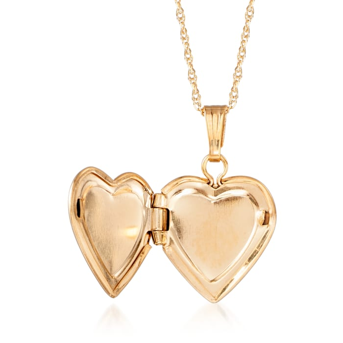 Child's 14kt Yellow Gold Small Heart Locket Necklace with Diamond Accent