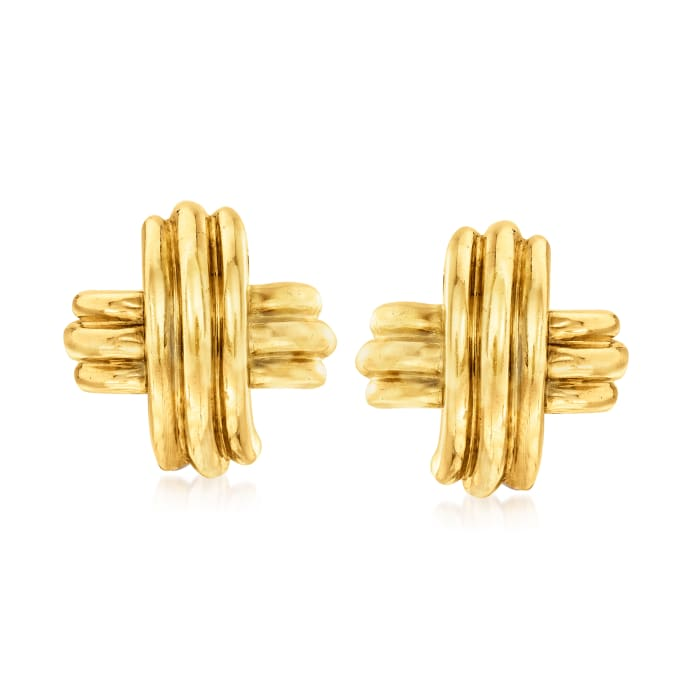 C. 1980 Vintage Tiffany Jewelry 18kt Yellow Gold X Clip-On Earrings