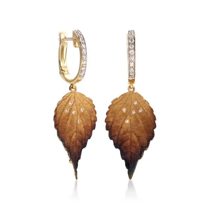 Simon G. .19 ct. t.w. Diamond Leaf Drop Earrings in 18kt Yellow Gold
