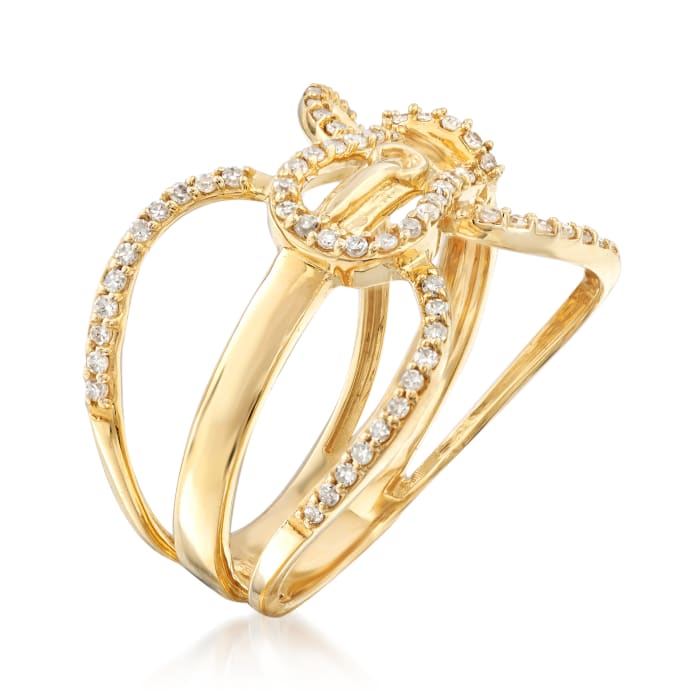 .27 ct. t.w. Diamond Buckle Ring in 14kt Yellow Gold