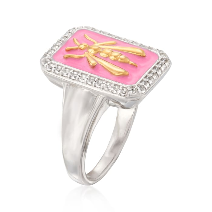 .30 ct. t.w. White Topaz and Pink Enamel Bee Ring in Sterling Silver with 18kt Gold Over Sterling