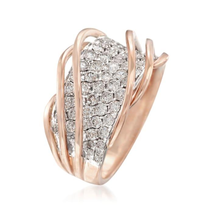 1.35 ct. t.w. Diamond Twist Ring in 18kt Rose Gold