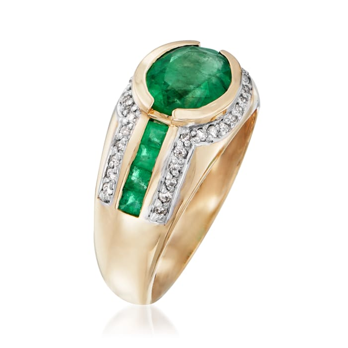2.30 ct. t.w. Emerald and .20 ct. t.w. Diamond Ring in 14kt Yellow Gold