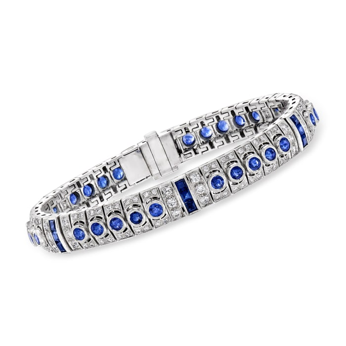 C. 1980 Vintage 6.30 ct. t.w. Sapphire and 2.40 ct. t.w. Diamond Bracelet in 18kt White Gold