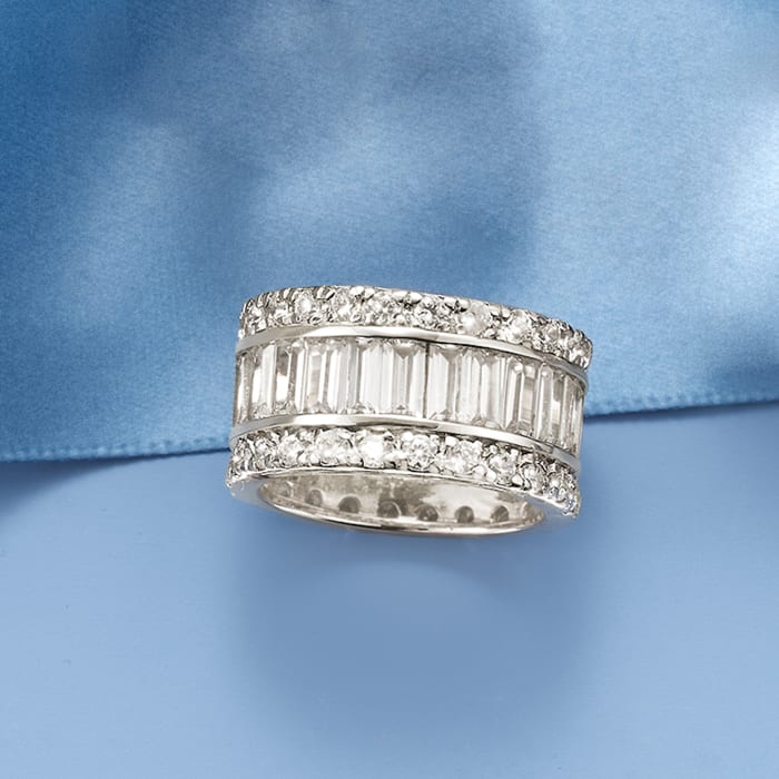 6.95 ct. t.w. Baguette and Round CZ Eternity Band in Sterling Silver