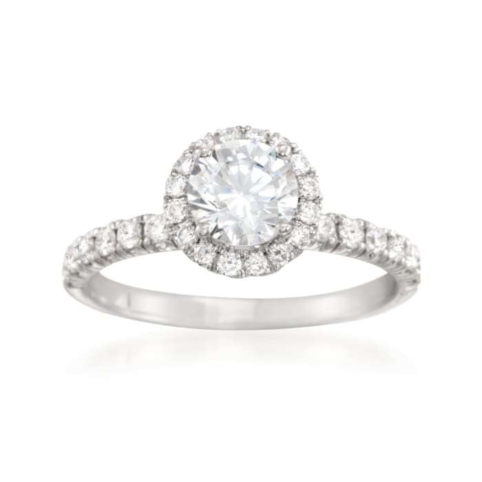Simon G. .47 ct. t.w. Diamond Halo Engagement Ring Setting in 18kt White Gold