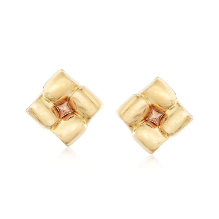 C. 1980 Vintage 18kt Two-Tone Gold Square Floral Earrings