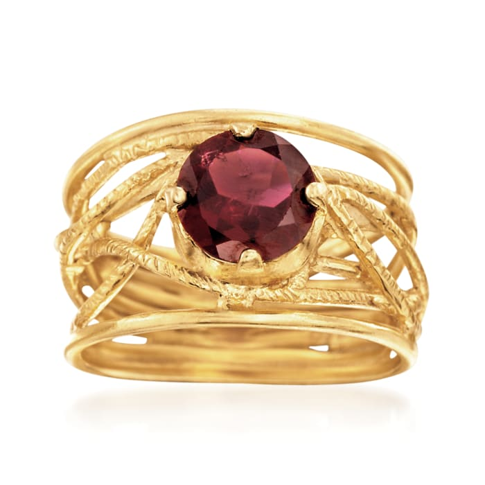 1.50 Carat Garnet Openwork Ring in 18kt Yellow Gold Over Sterling Silver