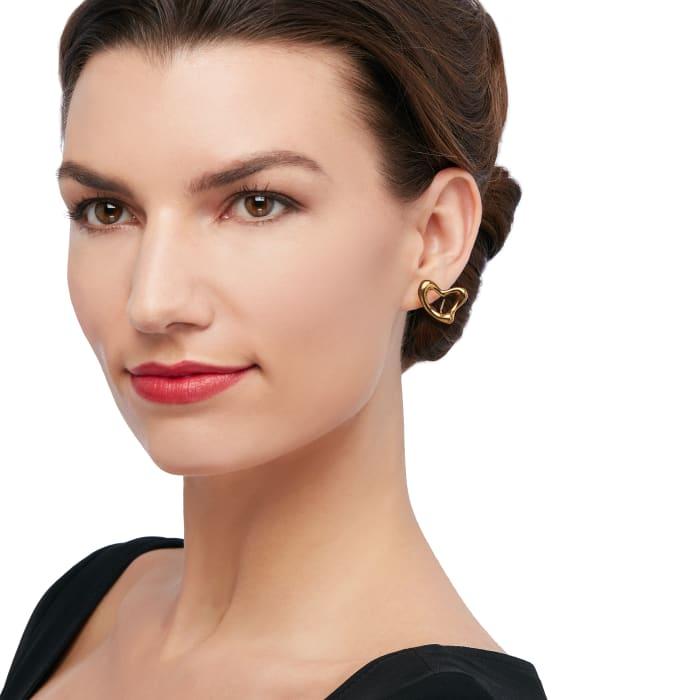 "C. 1990 Vintage Tiffany Jewelry ""Elsa Peretti"" 18kt Yellow Gold Heart Clip-On Earrings"