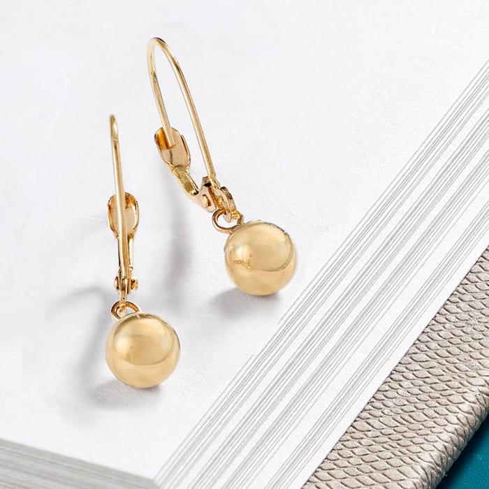 6mm 14kt Yellow Gold Shiny Bead Drop Earrings