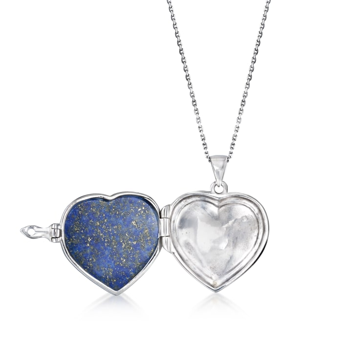 Lapis Heart Pendant Necklace in Sterling Silver