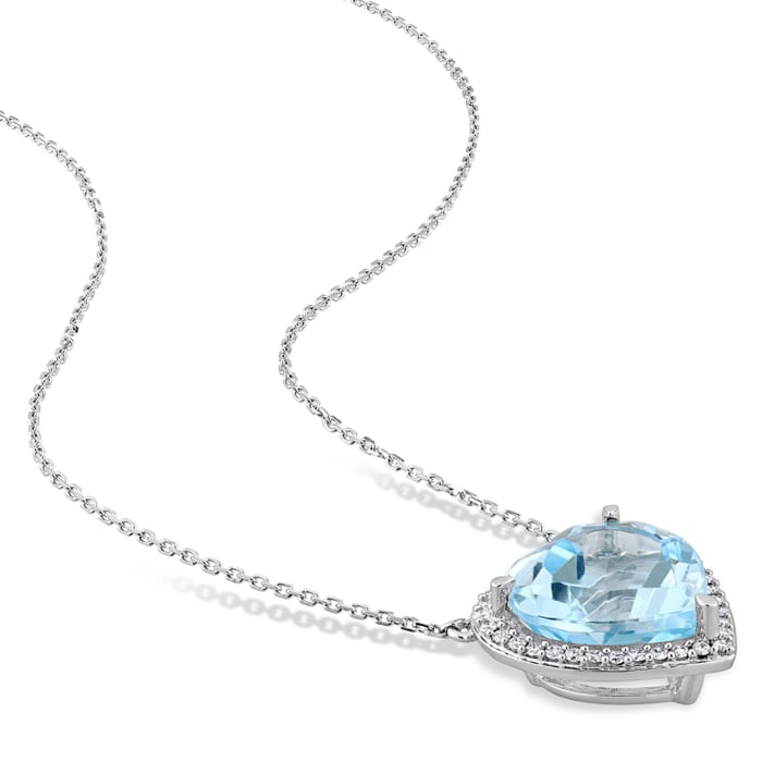 9.00 Carat Sky Blue Topaz Heart Pendant Necklace with .18 ct. t.w. Diamonds in 14kt White Gold