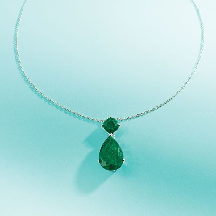 11.90 ct. t.w. Emerald Pendant Necklace in Sterling Silver