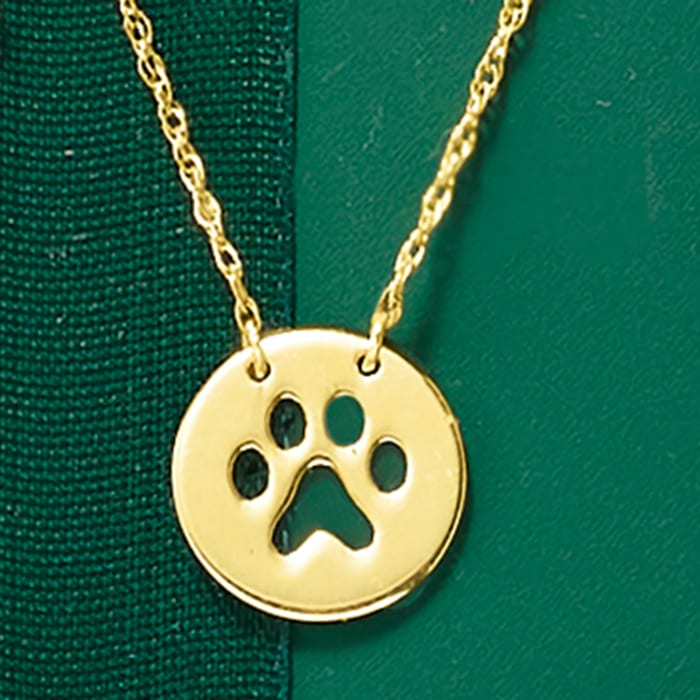 14kt Yellow Gold Mini Paw Print Cut-Out Necklace