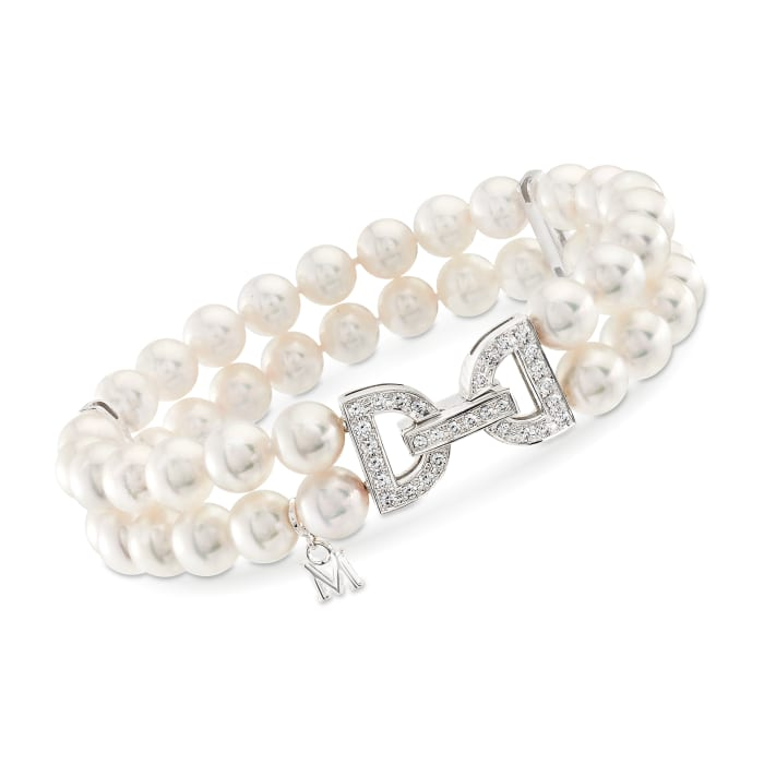 """Mikimoto """"Japan"""" 6.5-7mm A+ Akoya Pearl and .47 ct. t.w. Diamond Clasp Bracelet in 18kt White Gold"""