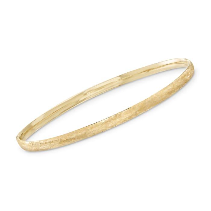 Italian 14kt Yellow Gold Brushed Bangle Bracelet