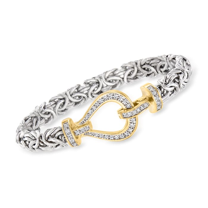 .42 ct. t.w. Diamond Byzantine Bracelet in Two-Tone Sterling Silver
