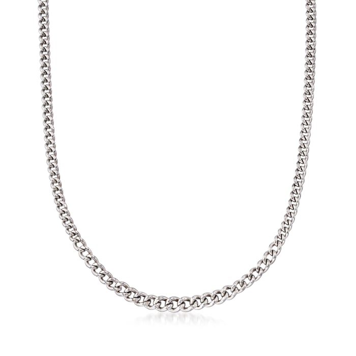 Italian Sterling Silver Graduated Curb Chain Necklace