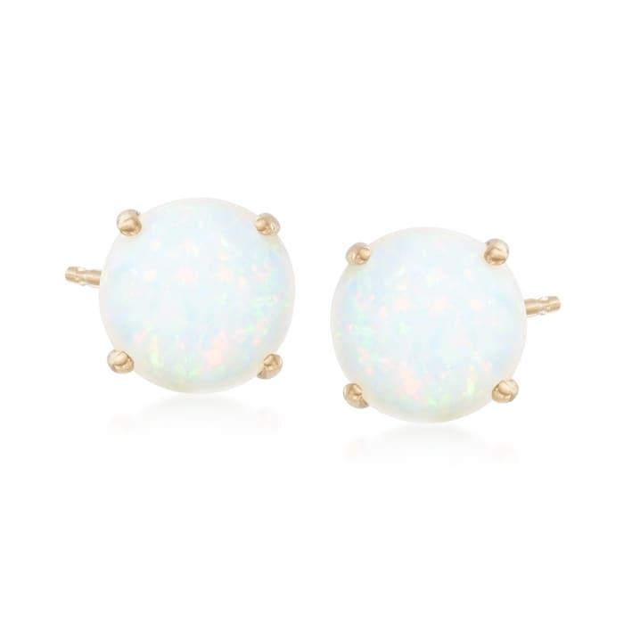 5mm Opal Stud Earrings in 14kt Yellow Gold