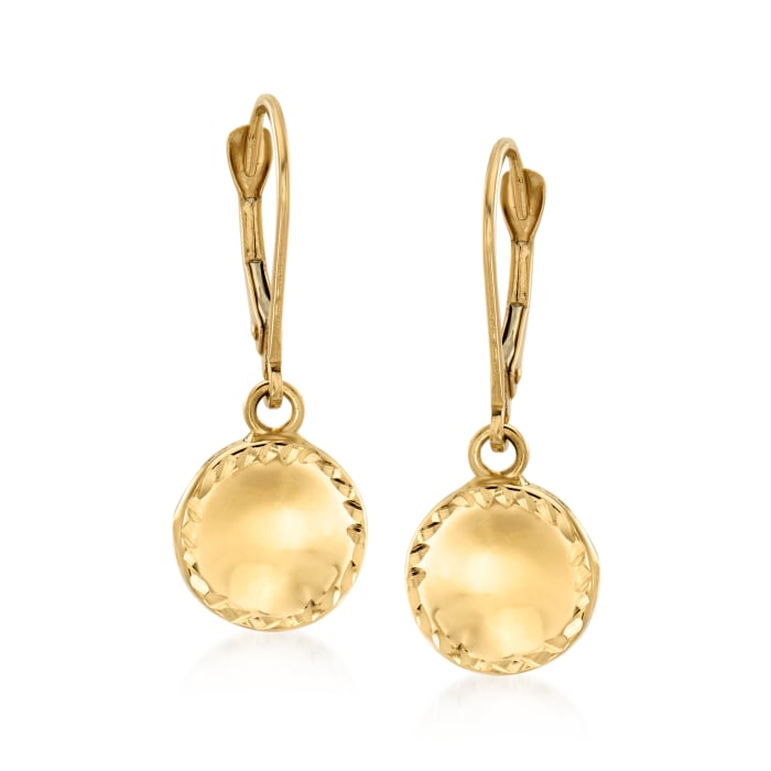 Italian 14kt Yellow Gold Circle Drop Earrings