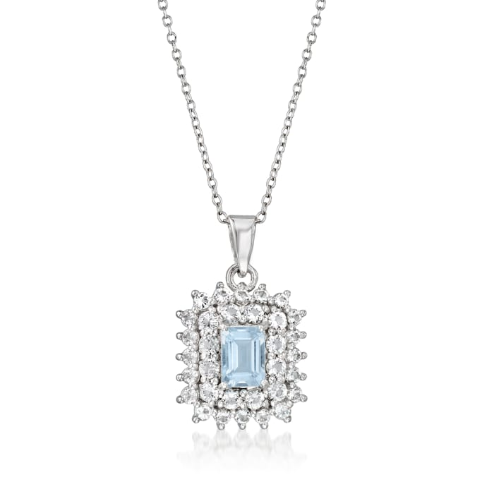 1.20 Carat Aquamarine and 2.00 ct. t.w. White Topaz Pendant Necklace in Sterling Silver