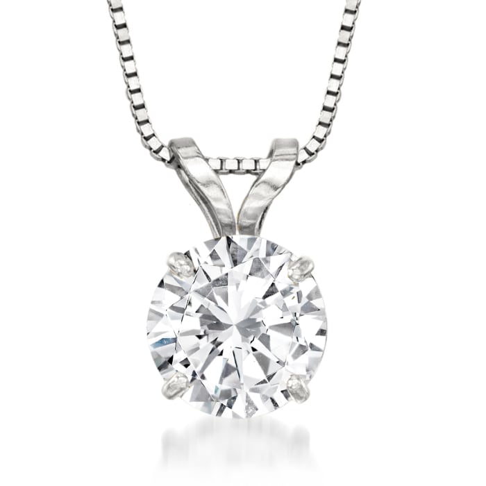 1.50 Carat CZ Solitaire Necklace in 14kt White Gold