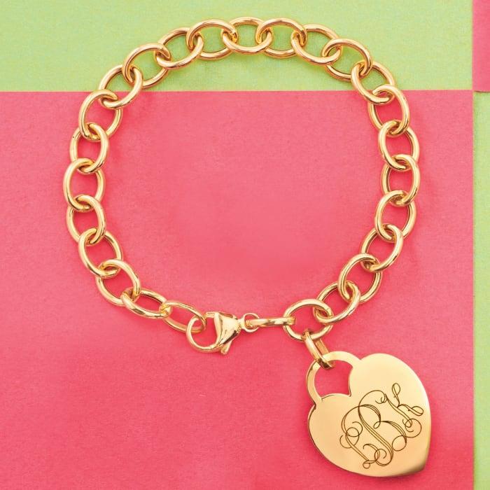 Italian 14kt Yellow Gold Personalized Heart Charm Bracelet