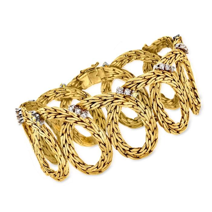 C. 1970 Vintage 1.35 ct. t.w. Diamond Spiral Bracelet in 18kt Yellow Gold