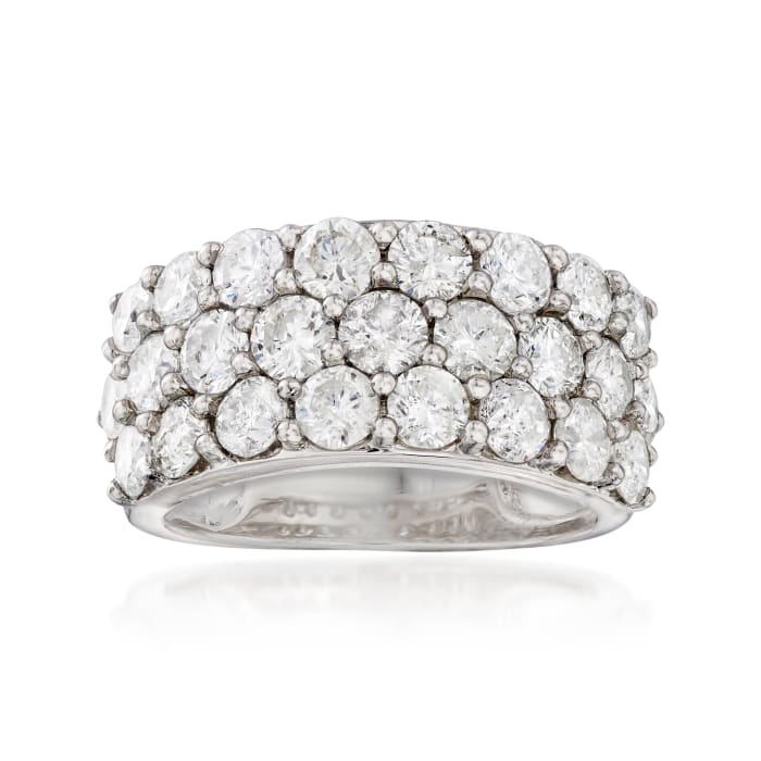 4.00 ct. t.w. Diamond Three-Row Ring in 14kt White Gold
