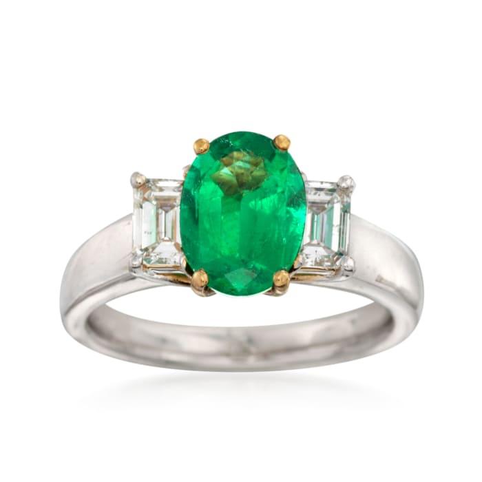 C. 2000 Vintage 1.54 Carat Emerald and .70 ct. t.w. Diamond Ring in Platinum