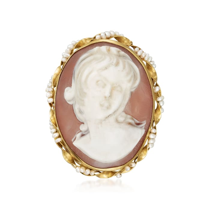 C. 1940 Vintage Oval Pink Shell Cameo and Seed Pearl Pin/Pendant in 14kt Yellow Gold