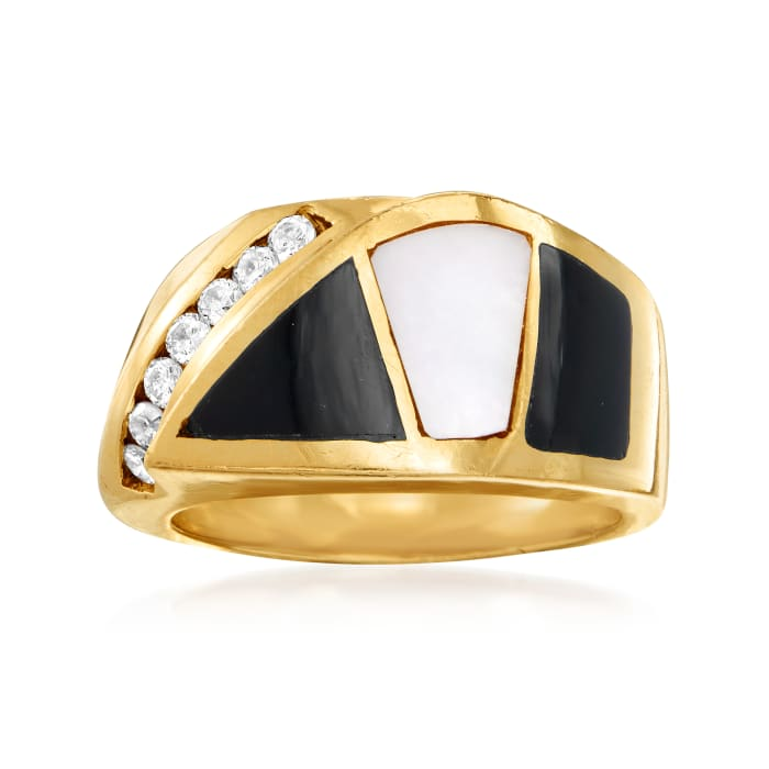 C. 1980 Vintage Black Onyx, Mother-Of-Pearl and .25 ct. t.w. Diamond Section Ring in 14kt Yellow Gold